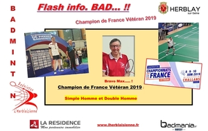 Champion de FRANCE VETERAN SH et DH  2019